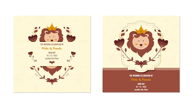 Carte de mariage mignon lion floral