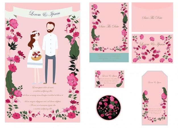 Carte de mariage mignonne et étiquettes