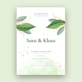 Carte de mariage minimale avec des plantes