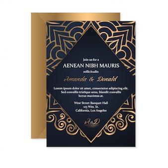 Carte de mariage en or