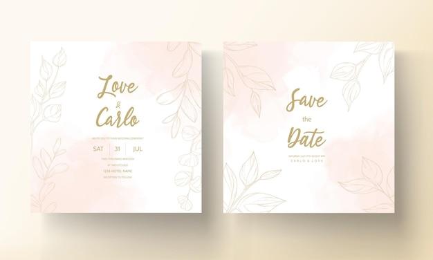 Carte de mariage avec ornement feuille d'or