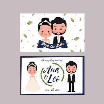 Carte de mariage avec des personnages