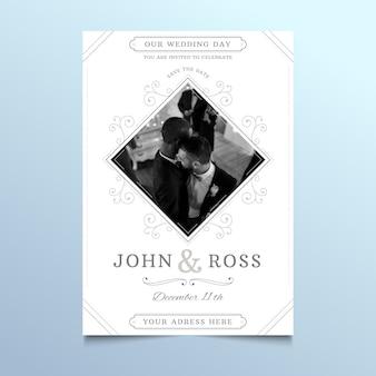 Carte de mariage avec photo de couple d'hommes