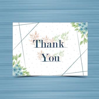 Carte de mariage de remerciement avec fleur bleue
