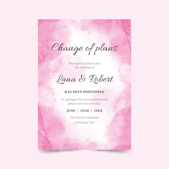 Carte de mariage reportée aquarelle rose