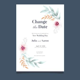 Carte de mariage reportée aquarelle