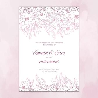 Carte de mariage reportée avec des fleurs