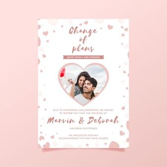 Carte de mariage reportée avec photo