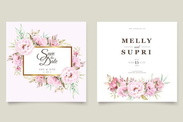 Carte de mariage sertie de belles fleurs aquarelle