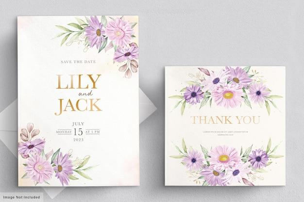 Carte de mariage sertie de fleur de chrysanthème douce