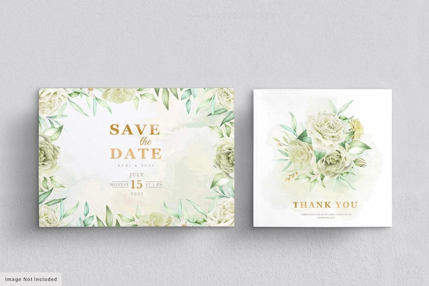 Carte de mariage sertie de fleurs vertes