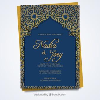 Carte de mariage avec un style arabe