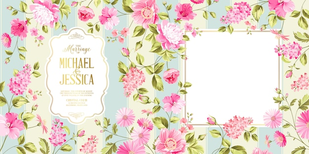 Carte de mariage syringa de printemps.