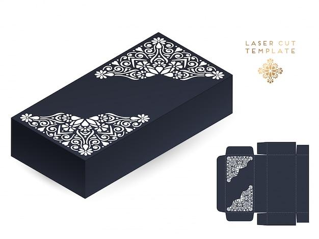 Carte de mariage de vecteur découpé au laser boîte de modèle