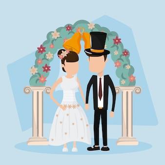Carte de mariage vient de se marier