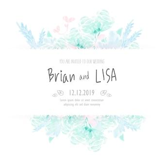 Carte de mariage vintage floral style aquarelle
