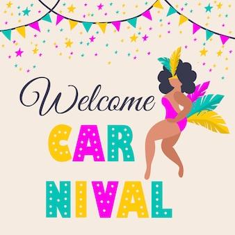 Carte de mascarade de carnaval festif isolé sur fond blanc