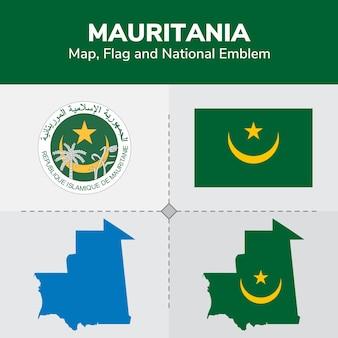Carte de mauritanie, drapeau et emblème national