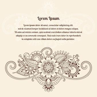 Carte mehndi indienne au henné floral