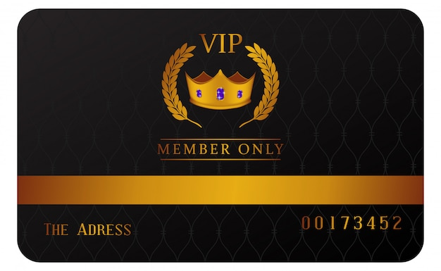 Carte de membre vip de luxe avec couronne en or