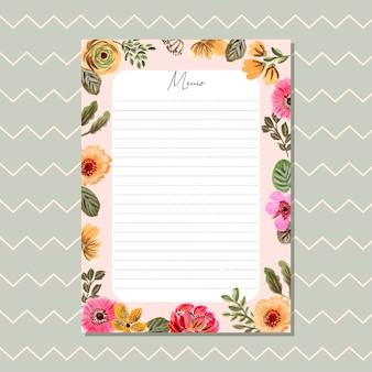 Carte de mémo avec beau cadre de peinture florale