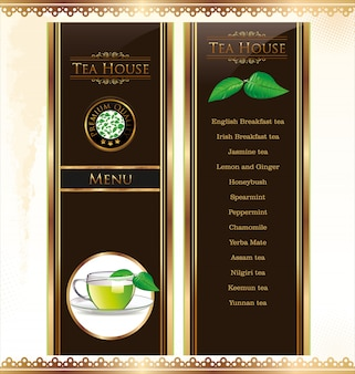 Carte de menu du thé