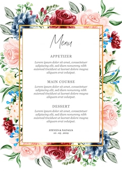 Carte de menu illustration aquarelle cadre floral