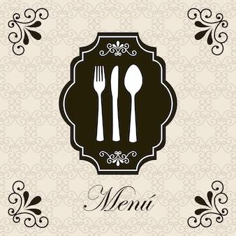 Carte de menu sur illustration vectorielle fond beige
