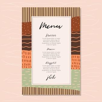 Carte de menu de mariage avec abstrait scandinave