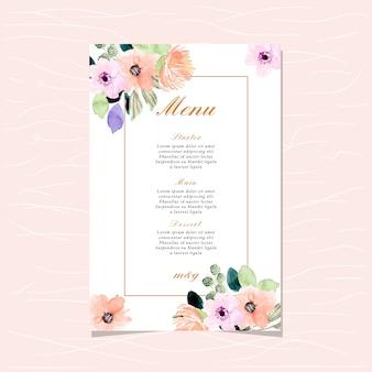 Carte de menu de mariage avec belle bordure florale aquarelle