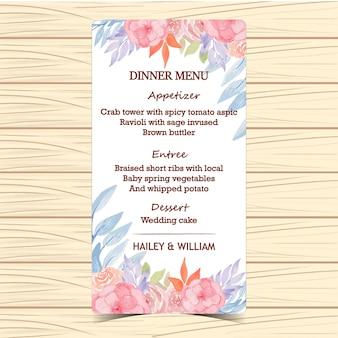 Carte de menu de mariage floral aquarelle