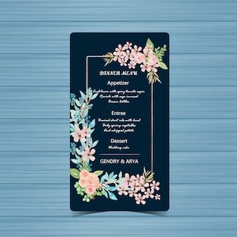 Carte de menu de mariage marine avec belle fleur