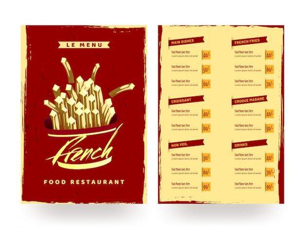 Carte de menu de restaurant français de nourriture.