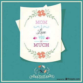 La carte de mère heureux de lettre