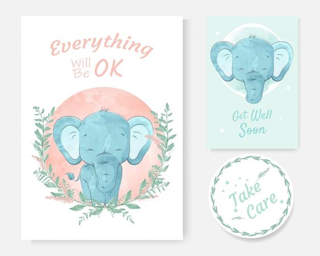 Une carte de message positif avec aquarelle dessinée d'éléphant mignon dessin animé à la main