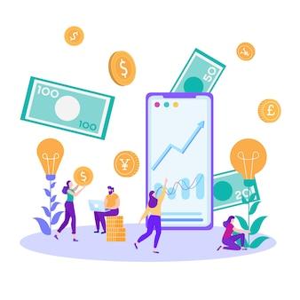 Carte de métaphore d'investissement en ligne des analystes financiers