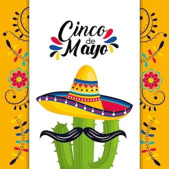 Carte mexicaine avec chapeau et plante de cactus avec moustache