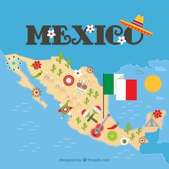 Carte mexicaine avec des éléments culturels
