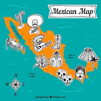 Carte mexicaine avec fond d'éléments