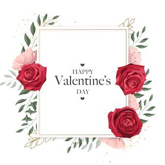 Carte mignonne de cadre doré de la saint-valentin heureuse avec des fleurs