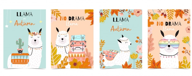 Carte mignonne dessinée à la main bleu orange avec lama, cactus, lunettes, fleur. pas de drame lama