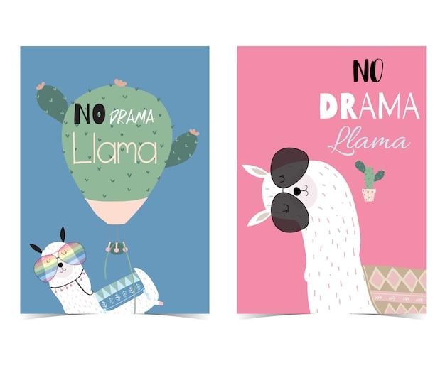 Carte mignonne dessinée à la main rose et bleu avec no drama llama
