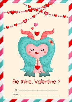Carte mignonne de valentine de monstre poilu