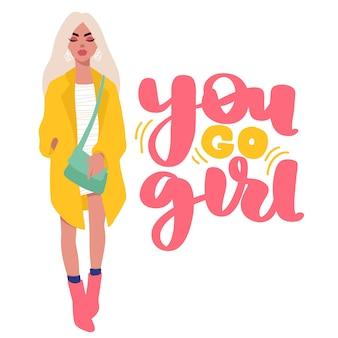 Carte de mode femme dans un style plat de dessin animé. fille élégante dans des vêtements à la mode