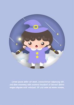 Carte de modèle d'anniversaire avec une sorcière mignonne debout sur les nuages.
