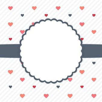 Carte de modèle blanc et bleu avec des coeurs. illustration vectorielle