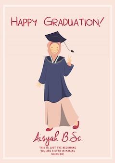 Carte de modèle de félicitation d'obtention du diplôme heureux