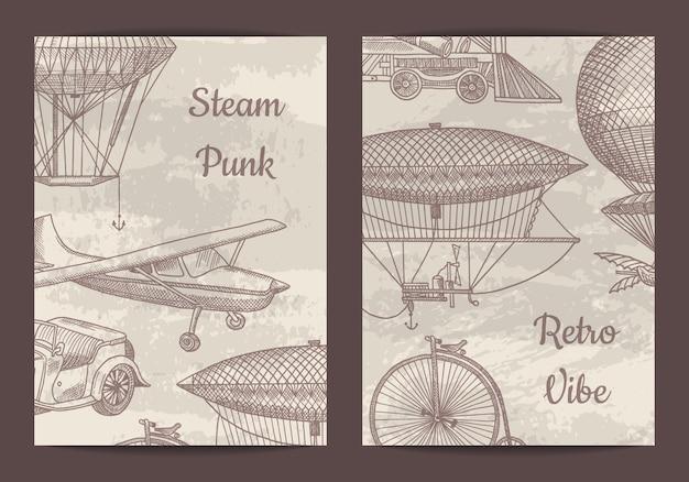 Carte, modèle de flyer pour soirée à thème steampunk ou boutique avec dirigeables dessinés à la main, ballons à air et illustration de voitures anciennes