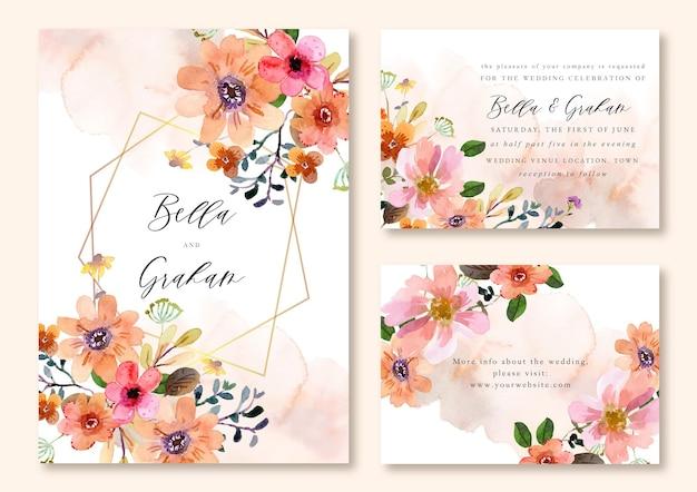 Carte de modèle d'invitation de mariage aquarelle cadre floral orange et rose