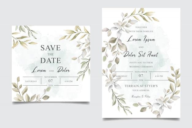 Carte de modèle d'invitation de mariage aquarelle verdure